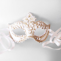 Antique White Masquerade Mask With Swirls-  Venetian Mask Embellished With Handcrafted Relief