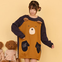 Harajuku students cartoon fleece pullover