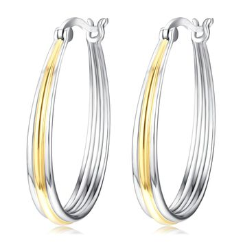 Two-tone Hoops Jewelry Gift S925 Sterling Silver Big Circle Hoop Earrings For Women Girls