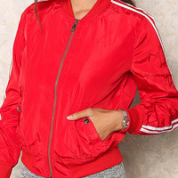 Red Striped Bomber Jacket