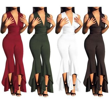 Rompers Women Jumpsuit Fashion Solid Pleated Halter Sleeveless Playsuits Full Length Bodycon Jumpsuits Irregular Bodysuits