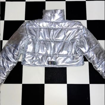 SWEET LORD O'MIGHTY! BRATITUDE PUFFER JACKET IN SILVER