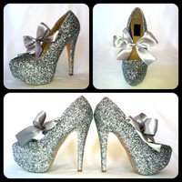 The Silver Bullet Glitter High Heels by Chelsie Dey Designs