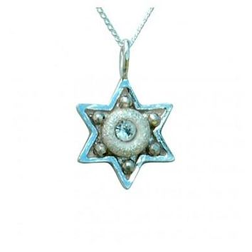 Shiny Star of David Necklace - Small