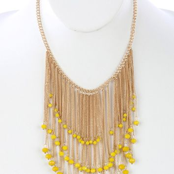 Yellow Long Chain Fringe Bib Iridescent Glass Bead Charm Necklace