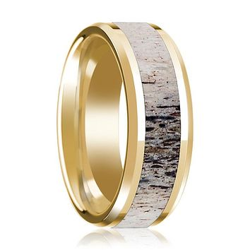 14K Yellow Gold Wedding Ring Inlaid with Ombre Deer Beveled Edge and Polished