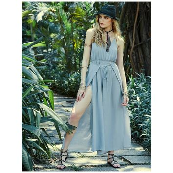 Cold Shoulder Grey Overall Dress