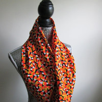 Candy Corn Infinity Circle Halloween Party Cozy Warm Trick Or Treating Candy Scarf