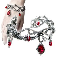 Passion Pewter Thorn and Blood Drop Bracelet by Alchemy Gothic AG-A80