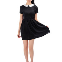 Black Maid Collar Short Sleeve Chiffon Dress