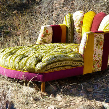 Vintage patchwork channel tufted chaise from vintagerenewal on for Chaise patchwork