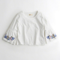 Girls Embroidered Bell-Sleeve T-Shirt | Girls Tops | HollisterCo.com