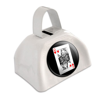 Playing Cards Queen of Hearts White Cowbell Cow Bell