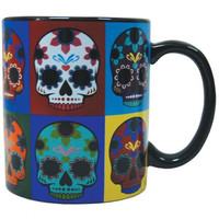 DAY OF THE DEAD POP SKULLS 14 OZ. MUG
