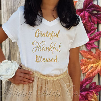 kids Thanksgiving shirt, girl Thanksgiving shirt, GRATEFUL THANKFUL BLESSED, kids holiday shirt, kids Fall shirt