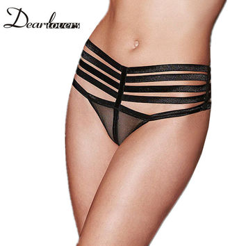 Love & Beauty  Black Shiny Caged Sheer Mesh Underwear /Black Lace Straps Satin Bow Naughty Knicker LC75065 LC75076