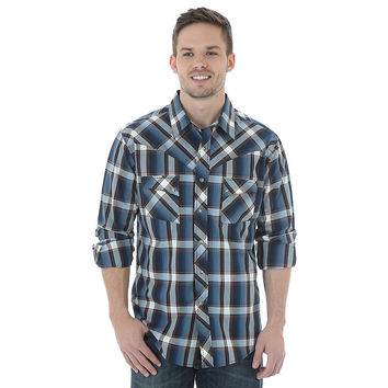 Wrangler Men's Western Jean L/S Navy/Blue/White Plaid Snap Shirt