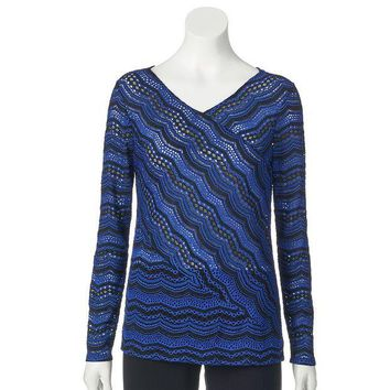DCCKX8J Dana Buchman Pieced Lace Top - Women's Size