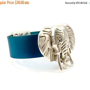 Christmas Sale Silver Elephant and Turquoise Leather Bracelet, Wide Turquoise Leather and Silver, Leather Cuff Bracelet, Magnetic Clasp, Gif