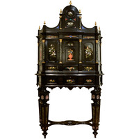 Florentine 19th Century Ebony Marble and Hard Stones Marquetry Cabinet