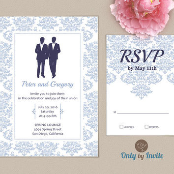 Gay Wedding Invitation and RSVP card set | Same Gender Wedding | Damask wedding invite