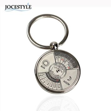 Mini Perpetual Calendar Keychain Unique Metal Keyring Sun Moon Carving Calendar keyring for Men Women llavero mujer 2017 HOT