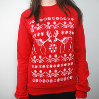 CLEARANCE A Very Fennec Holiday Red Crew Neck Sweater