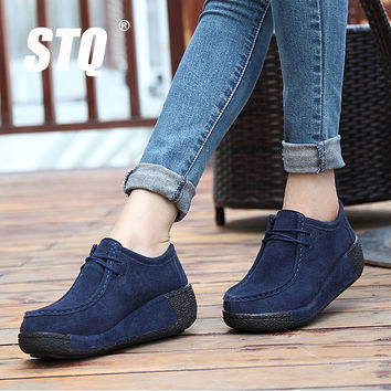 STQ 2017 spring women platform shoes women casual shoes leather suede platform shoes women flats ladies lace up creepers 862