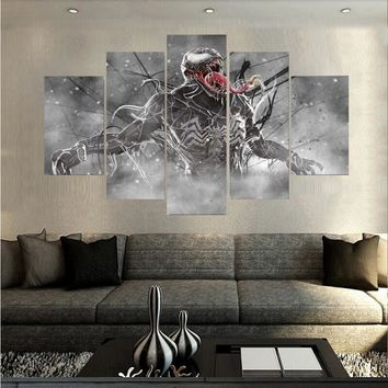 Wall Art Poster Home Decoration Modern 5 Panel Venom Marvel Comics Living Room Canvas HD Print Modular Painting Pictures Frame