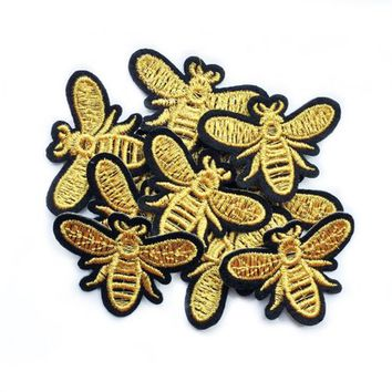 Bee Patches for Backpacks Bumble Bee Applique Patches for Jackets Wings Iron on Patch Small Embroidered Patch Bee Insect Animal Motif Patch
