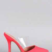 Women's Qupid Neon Lucite Pointy Toe Pump