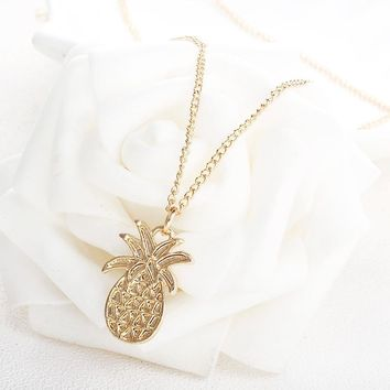 X71 Trendy Gold Color Pineapple Pendant Chain Necklace Women Summer Jewerly  Simple Charming Girls Statement Short c61b84f12a