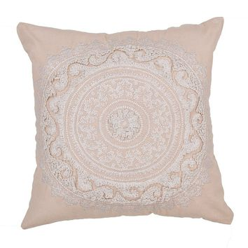 Khaki Suzani Medallion Throw Pillow