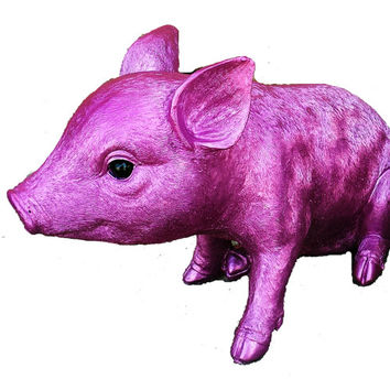 Metallic Standing Pink Piggy Bank