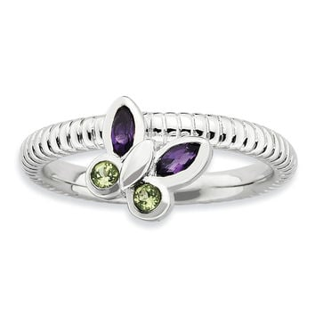 Sterling Silver Stackable Expressions Amethyst & Peridot Butterfly Ring