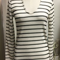 Ivory and Black Stripe Keyhole Top