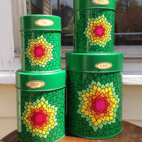 Mod nevco metal canister set in geometric floral design, set of 4