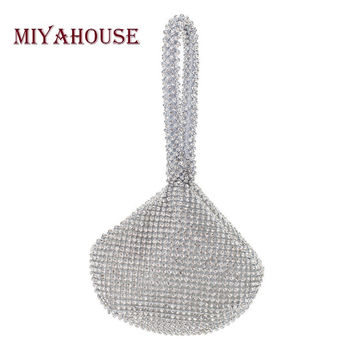 Miyahouse Women Party Evening Bags Crystal Handbags Women Party Small Wristlets Bags Shell Design Crystal Evening Bags