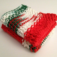 SALE Dishcloth Washcloth Christmas Green and Red Handknit Set of Two