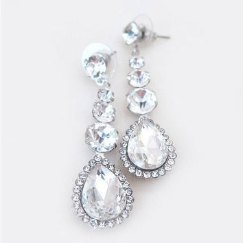 CZ Bridal Earrings, Drop Rhinestone Earrings Wedding, Crystal Jewellery for Prom
