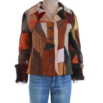 "70's Vintage Patchwork Sheepskin Shearling Jacket Women's Size Small / Butter Soft Colorful Suede Leather 1970 Boho Retro Clothing 37"" Bust"