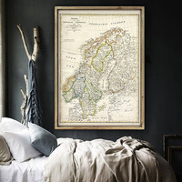 "Map of Scandinavia 1820, Vintage Scandinavia map, 4 sizes up to 36x48"" (90x120 cm) Norway, Sweden, Finland - Limited Edition - Print 36"