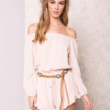Blush Off Shoulder Ruffle Romper