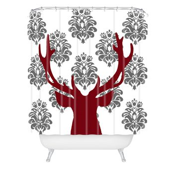Natt Deer Damask White Shower Curtain