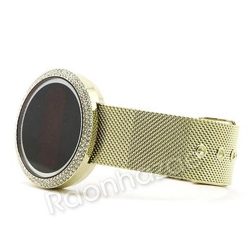 Men Iced Out Digital Smart Watch Mash Band 14K Gold Silver PT Smart Watch F28GS