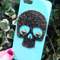 Pastel Mint Green Vintange Bronze Studded Sugar Skull iPhone 6 Bethany Mota Phone Case