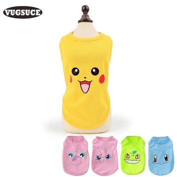 VUGSUCE Cartoon Cooling Pet Dog Vest Shirt Soft Personalized  Dog Pet Clothing for Small Puppy Chihuahua Dogs Cats SummerKawaii Pokemon go  AT_89_9