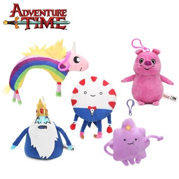 2018 10-19cm Adventure Time Plush Keychain Toys Jake Ice King Lady Rainicorn Peppermint Butler Soft Stuffed Dolls Toy Pendant