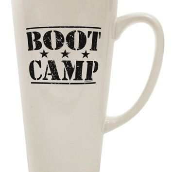 Bootcamp Large distressed Text 16 Ounce Conical Latte Coffee Mug