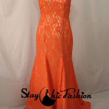 Coral Lace Appliqued Square Neck Cap Sleeves Open Back Evening Wear, Womens Coral Mermaid Lace Prom Dress 2015 Long